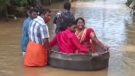 Indian couple float to wedding