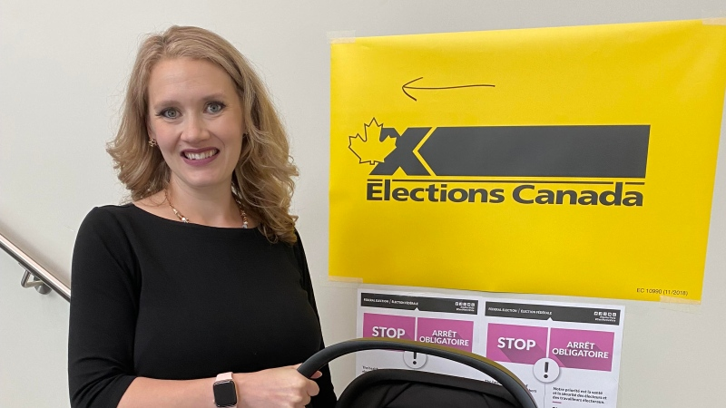 Conservative MP for Fort McMurray—Cold Lake Laila Goodridge stops by an advanced poll during the 2021 election. (Photo courtesy of Laila Goodridge)