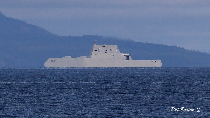 The USS Michael Monsoor is pictured off Nanaimo: Oct. 18, 2021 (Pat Beaton)