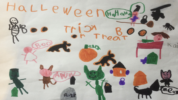 """""""A picture of having a Halloween dream with goblins, skeletons, bats, vampires, werewolves, ghosts and a witch"""", Kai Spaull, 6 years old, Grade 1, Arnprior"""