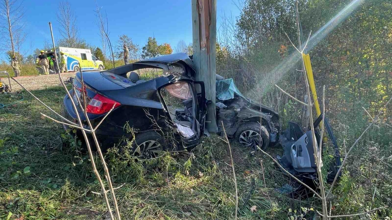 A car crashed into a hydro pole in The Town of the Blue Mountains on Tues., Oct. 19, 2021 (Supplied)