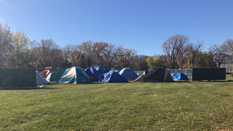 In a social media post, Camp Marjorie said it will ask Regina Fire and Protective Services to expand the perimeter of fencing around the camp as it continues to grow. (Stefanie Davis/CTV News)