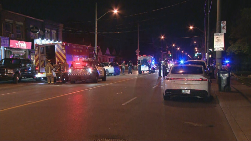 Emergency crews respond to the scene where a pedestrian was fatally struck by a car in East York Tuesday, October 19, 2021.
