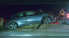 A vehicle is damaged following a crash on Highway 89 and 5th Sideroad in Innisfil, Ont., on Tuesday, October 19 (Steve Mansbridge/CTV News)