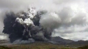 Moment of volcanic eruption in Japan
