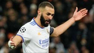 Real Madrid's Karim Benzema reacts during a Champions League group D soccer match in Kyiv, Ukraine, on Oct. 19, 2021. (Efrem Lukatsky / AP)