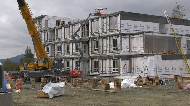 The four-storey modular rental project in Sooke, B.C., as seen October 19, 2021. (CTV News)