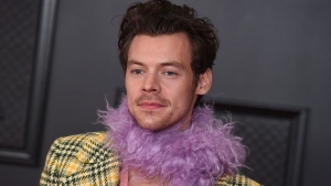 Harry Styles at the 63rd annual Grammy Awards in L.A. on March 14, 2021. (Jordan Strauss / Invision / AP)