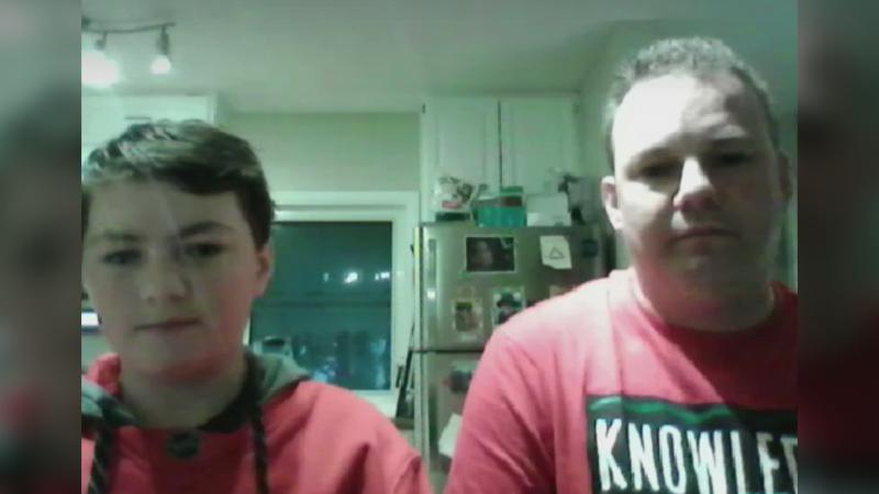 Jacob Ezinicki (right) with his father Dustin Ezinicki. Jacob lives with dyslexia