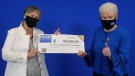 Mary Ann Sherman of Leamington and Donna Urbantke of London with their winnings. (Source: OLG)