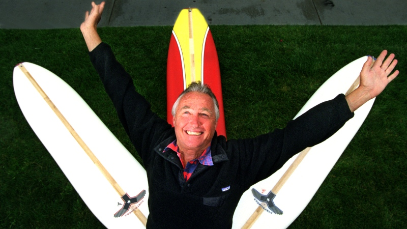 Tom Morey created a soft-bodied surfboard called a Swizzle board decades after his Boogie Board. (Don Bartletti/Los Angeles Times/Getty Images/CNN)