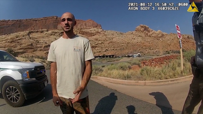 Bodycam footage from the Moab Police Department that shows them talking with Brian Laundrie is seen. (Moab Police Department / CNN)