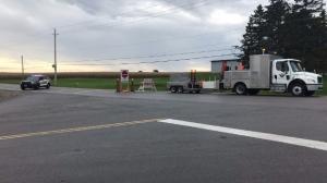 A road blockade set up near a crash in Wilmot Township (Chris Thomson / CTV Kitchener)