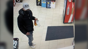 Around 9 p.m. on Oct. 19, 2021, a masked male armed with a sword entered a Cold Lake, Alta., liquor store and demanded money and two bottles of alcohol. (Photo provided.)