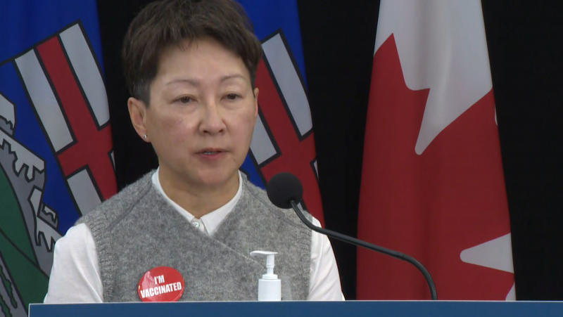 Dr. Verna Yiu updates Albertans on the vaccination status of healthcare workers on Oct. 19, 2021 (Galen McDougall/CTV News Edmonton).
