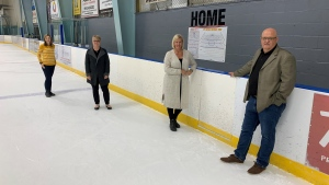 From left, Sarah Hogeveen, Cheryl McFadden, Chrissy Kernaghan and Andy Friyia are part of the 'Mt Brydges Needs an Arena' committee who have been fighting to keep an ice pad in the village. They are pictured in Mt. Brydges, Ont. on Wednesday, Oct. 20, 2021. (Brent Lale / CTV News)