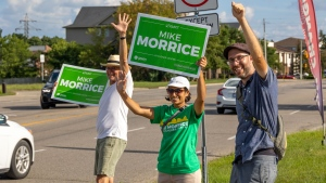 Green MP for Kitchener Centre Mike Morrice campaigning during the 2021 election. (Photo courtesy of Mike Morrice)