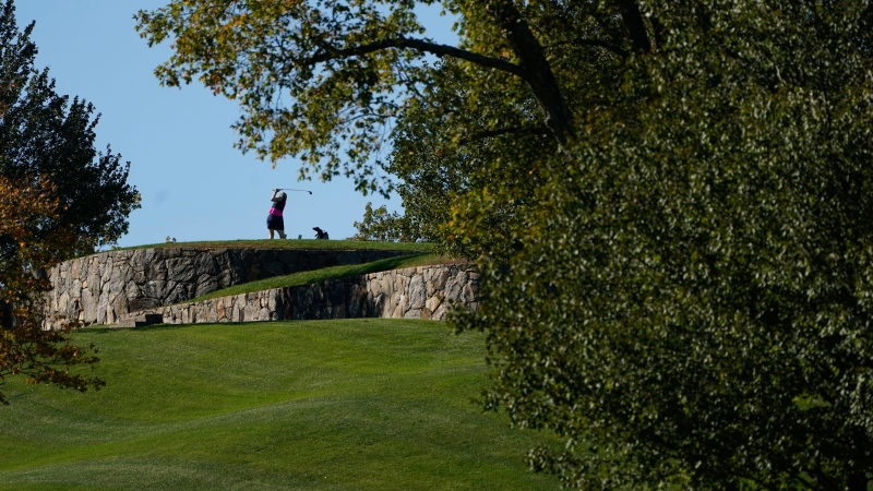 A golfer plays at Trump National Golf Club in Briarcliff Manor, NY., Wednesday, Oct. 20, 2021. (AP Photo/Seth Wenig)