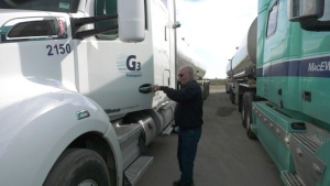 Roland LaFlamme entering his truck on Hwy. 17. (Peter Szperling/CTV News Ottawa)