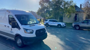 Officers were sent to the 1000 block of Angus Street just before 2 p.m. on Monday after a report that a man's body had been found in a house. (Gareth Dillistone/CTV News)