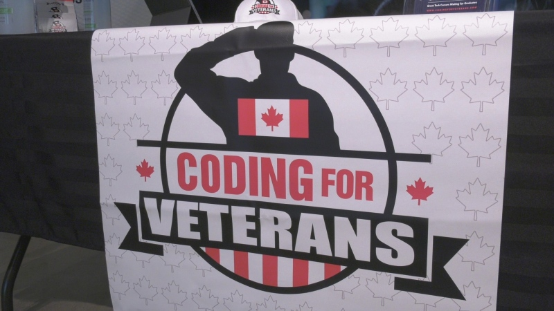 A Coding for Veterans booth is set up in Petawawa, Ont., Wednesday, Oct. 20, 2021. (Dylan Dyson/CTV News Ottawa)