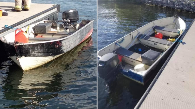Cornwall police are investigating the discovery of an abandoned boat on Wednesday. (Photo courtesy: Cornwall Police Service)