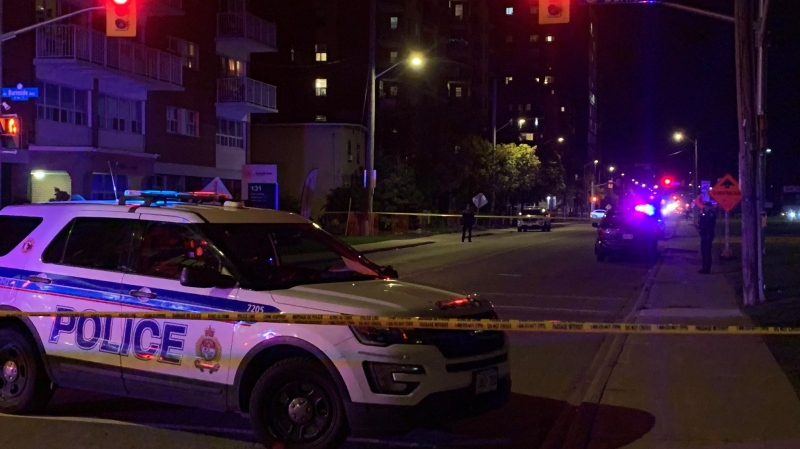Ottawa police investigate a shooting on Parkdale Avenue. (Shaun Vardon/CTV News Ottawa)