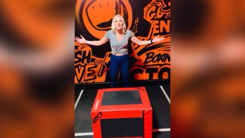 Stevie Schwartzberg's sister Daryl participating in the box jump challenge. (Source: Schwartzberg family)