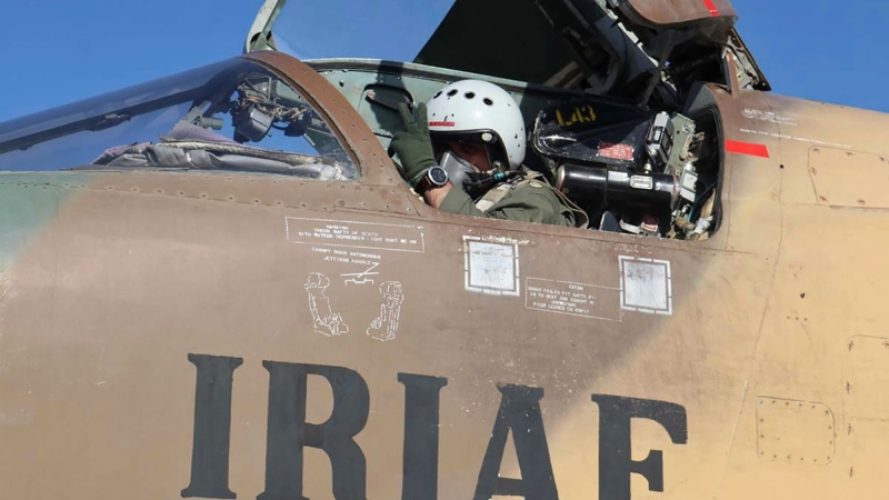A pilot gestures during an air force exercise in Iran, on Oct. 21, 2021. (Iranian Army via AP)