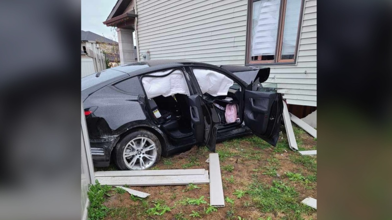 Three people were injured when a car crashed into a Riverside South home Thursday morning. The crash caused serious damage to the home's foundation. (Ottawa Fire Services)