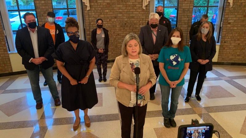 Ontario NDP leader Andrea Horwath is pitching a zero emission auto strategy for the province in Windsor, Ont., on Thursday, Oct. 21, 2021. (Rich Garton / CTV Windsor)