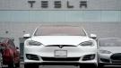 Vehicles at a Tesla location in Littleton, Colo., on May 9, 2021. (David Zalubowski / AP)