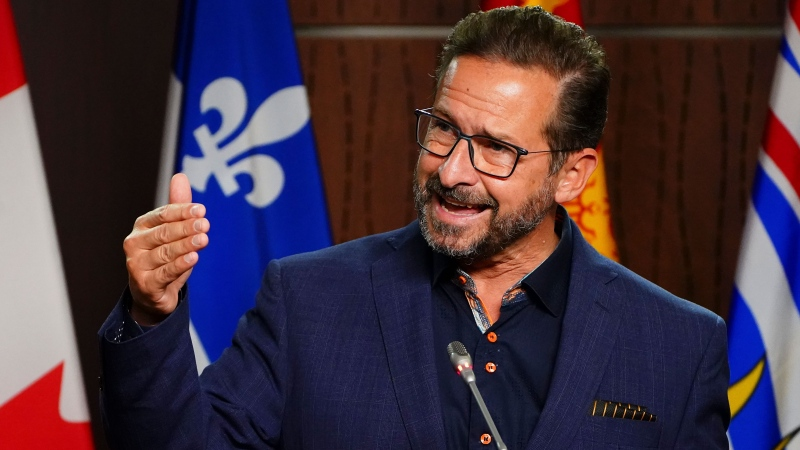 Bloc Quebecois Leader Yves-Francois Blanchet holds a press conference on Parliament Hill in Ottawa on Tuesday, Oct. 5, 2021. THE CANADIAN PRESS/Sean Kilpatrick