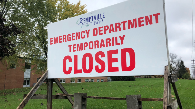 The Kemptville hospital's emergency department is closed on Thursday, Oct. 21, 2021 because of an 'I.T. disruption' and will reopen when systems are restored, but no timeline was given. (Nate Vandermeer/CTV Viewer)