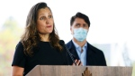 Minister of Finance and Deputy Prime Minister Chrystia Freeland joins Prime Minister Justin Trudeau during a press conference as they visit the Children's Hospital of Eastern Ontario in Ottawa on Thursday, Oct. 21, 2021. THE CANADIAN PRESS/Sean Kilpatrick