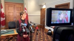Mayor-elect Jyoti Gondek speaks to reporters on Thursday at Calgary city hall.