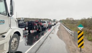 Highway 11 is closed because of a diesel spill, the Ontario Provincial Police said Thursday. (Eric Taschner/CTV News)