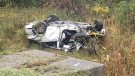 The scene of a fatal rollover on the eastbound Highway 401 near Iroquois, Ont. on Thursday, Oct. 21, 2021. (Courtesy SD&G OPP)