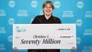 Christine Lauzon's $70 million Lotto Max prize is the biggest jackpot ever won in British Columbia. (BCLC)