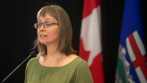Chief medical officer of health Dr. Deena Hinshaw provides a COVID-19 update in Edmonton, Friday, Sept. 3, 2021. THE CANADIAN PRESS/Jason Franson