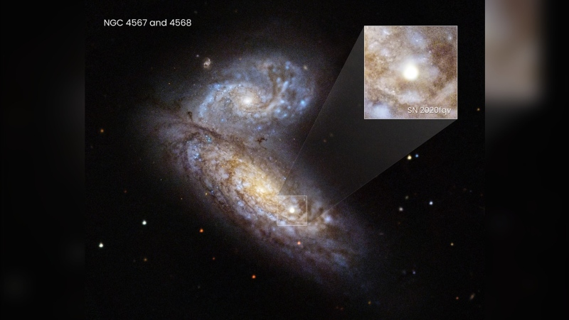 Astronomers watched a star explode in a supernova inside the interacting Butterfly Galaxies, 60 million light-years away, using the Hubble Space Telescope and other observatories. (Ryan Foley/UC Santa Cruz/ESA/NASA via CNN)