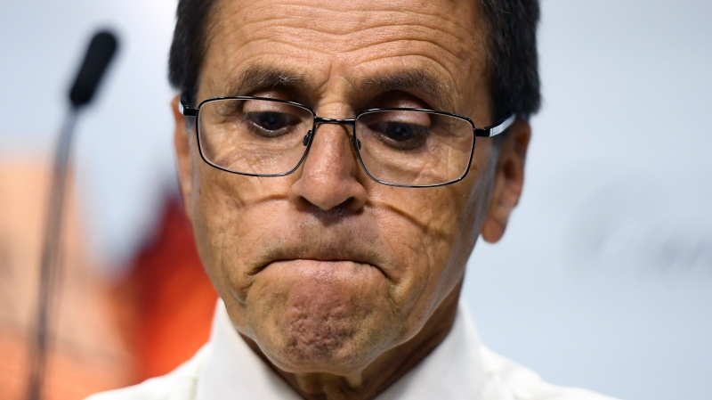 Hassan Diab, an Ottawa professor who was extradited to France after allegations of involvement in the 1980 bombing of a Paris synagogue, responds to the release of an external review on his extradition by the Justice Department during a press conference on Parliament Hill in Ottawa, July 26, 2019. THE CANADIAN PRESS/Justin Tang
