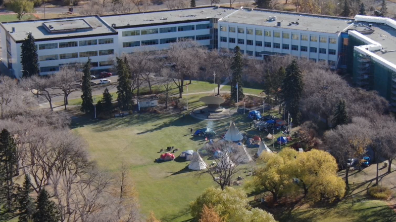 "A drone image of a ""sit-in"" camp on the Alberta legislature grounds on Oct. 21, 2021(John Hanson/CTV News Edmonton)."
