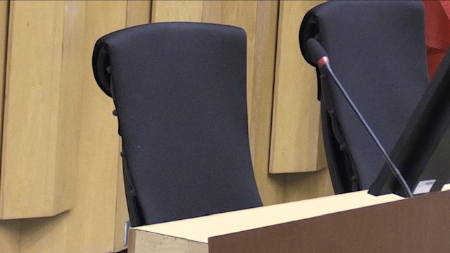 An empty seat in council chambers at City Hall in London, Ont. is seen Thursday, Oct. 21, 2021. (Daryl Newcombe / CTV News)