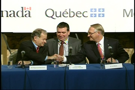 Raymond Bachand, Christian Paradis and Gerald Tremblay announce that all three levels of government will support the Montreal Grand Prix for the next five years. (Nov. 27, 2009)