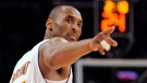 In this June 7, 2009, file photo, Los Angeles Lakers guard Kobe Bryant points to a player behind him after making a basket in the closing seconds against the Orlando Magic in Game 2 of the NBA Finals in Los Angeles. (AP Photo/Mark J. Terrill)