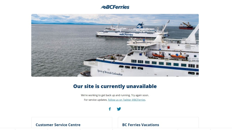 BC Ferries apologized to customers impacted by the outage after both its website and booking systems crashed.