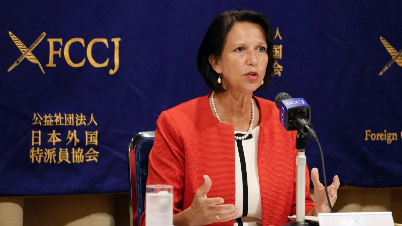 United Nations Secretary General's Special Envoy to Myanmar Christine Schraner Burgener speaks during a press conference Friday, May 28, 2021, at Foreign Press Correspondents' Club of Japan in Tokyo. (AP Photo/Eugene Hoshiko)