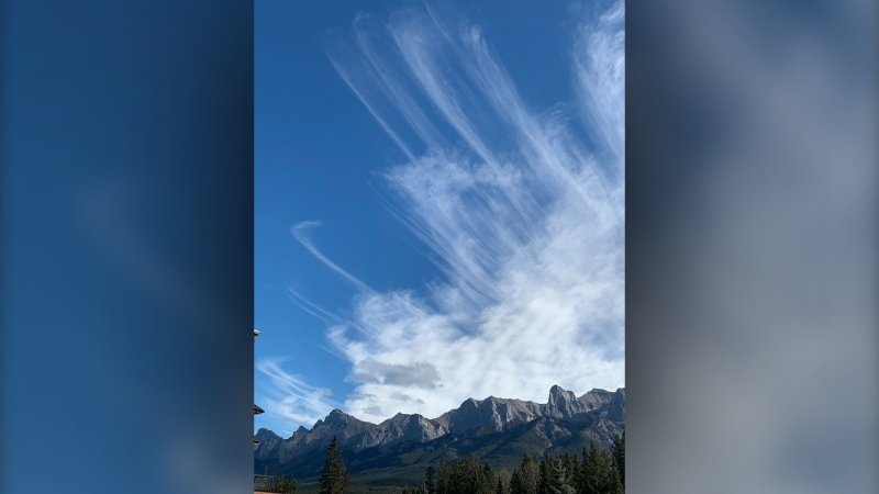 Viewer Bob captured cirrus wisps off the Rockies near Canmore.