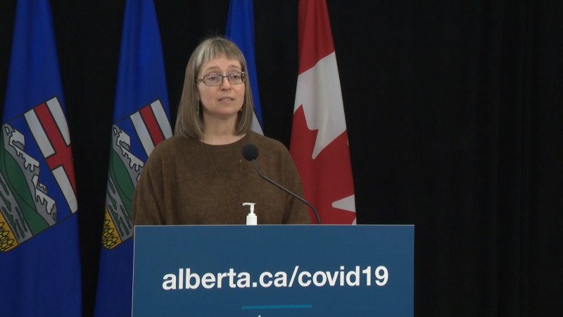 Alberta's top doctor, Chief Medical Officer of Health Dr. Deena Hinshaw, speaks to media during a provincial COVID-19 update on Oct. 21, 2021.